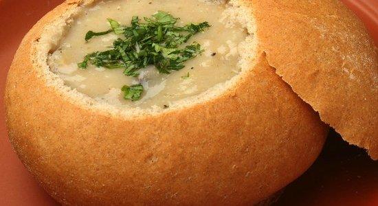 Mushroom soup in breadbowl