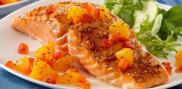Recipe Inspirations Citrus Baked Salmon with Orange Salsa_Recipe_1007x545